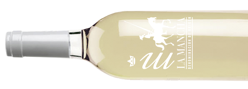 Botella de vino blanco con Denominación de Origen La Mancha