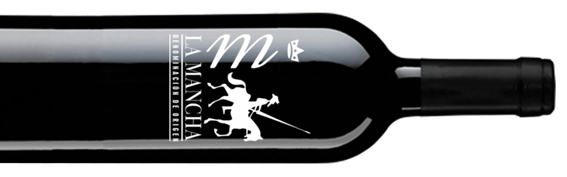 Botella de vino tinto con Denominación de Origen La Mancha